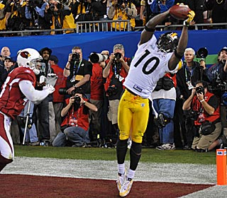 Santonio Holmes scores the winning TD, a 6-yard reception with 35 seconds left, and is later named the MVP ...