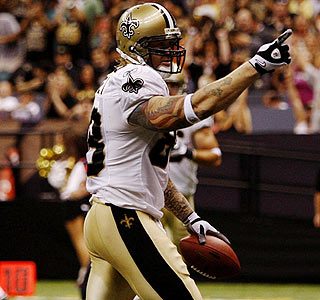 Jeremy Shockey celebrates his first touchdown as a Saint, a 22-yarder from Drew Brees.  (Getty Images)
