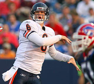 Jay Cutler fails to light it up in his first game with the Bears, going 5 for 10 with a pick.  (Getty Images)