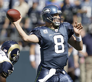 Matt Hasselbeck overcomes a pair of early interceptions and finishes with three TDs and 279 yards in the air.