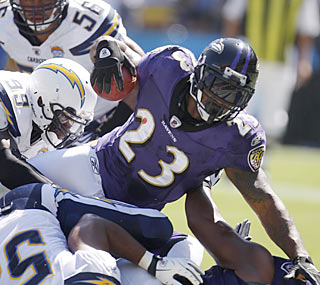 Ravens running back Willis McGahee goes airborne for one of his two touchdowns on the day.