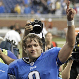 Quarterback Matthew Stafford celebrates the Lions' first victory since Dec. 23, 2007.