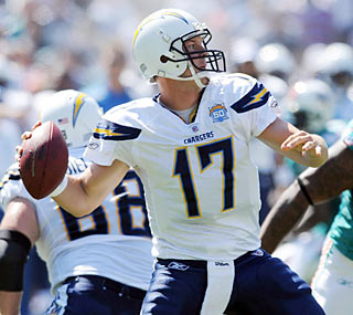 Philip Rivers throws for 303 yards and also contributes with a rushing touchdown of his own.