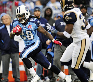 NFL rushing leader Chris Johnson runs for 117 yards, boosting his season total to 1,626. (AP)