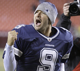Returning to the postseason pumps up Tony Romo.  The Cowboys QB completes 25 passes for 286 yards and one TD.