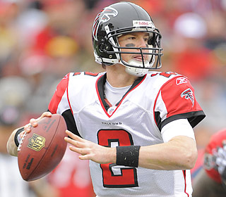 Matt Ryan completes 23 of 35 attempts for 223 yards and two touchdowns in the victory.  (US Presswire)