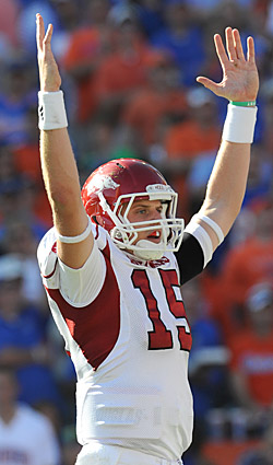 Arkansas' Ryan Mallett's talent will make scouts pay attention. (Getty Images)