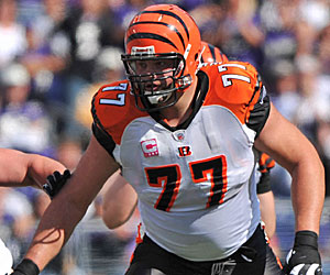 Former guard Andrew Whitworth is a vital cog at left tackle for the Bengals. (Getty Images)