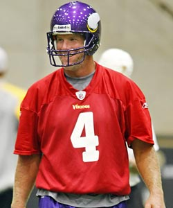 Brett Favre will surely be back in practice regalia for the Vikings ... a few weeks late. (US Presswire)