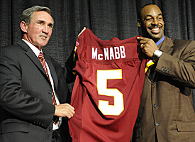 Shanahan (left) and McNabb look to turn around a team with one playoff win in the past decade. (Getty Images)