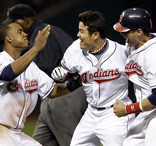 All that's missing is the seagull that assisted Shin-Soo Choo (center) on his game-winning RBI single.  (AP)