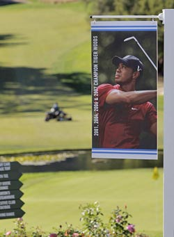 Fans at Sherwood Country Club will have to make do with pictures of Tiger Woods instead of the real deal this week. (AP)