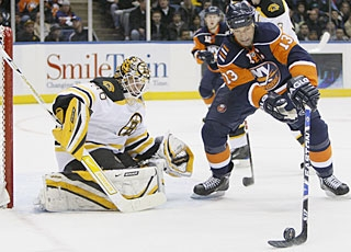 Tim Thomas loses a shutout when Bill Guerin finds a way to score with 53 seconds left. (AP)
