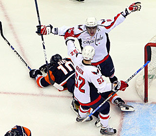 Alex Ovechkin celebrates with Mike Green after knocking in the OT game winner.  (AP)