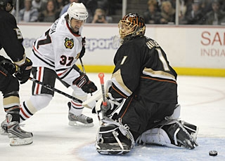 Adam Burish (37) scores his first goal in seven games and just his third of the season. (AP)