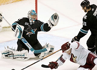 Evgeni Nabokov has stopped 55 shots in two games to record his third and fourth shutouts this season. (AP)