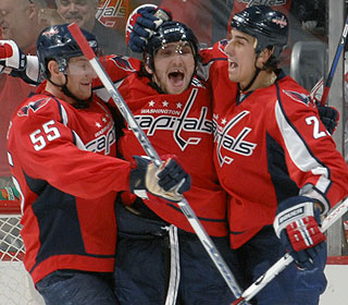 The party starts after Alex Ovechkin (center) scores an insurance goal on the power play. (Getty Images)