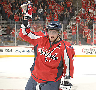 Alex Ovechkin scores three times over the first two periods for his seventh career hat trick.  (Getty Images)