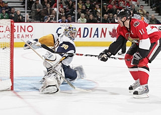 Daniel Alfredsson is one of three scorers in the shootout for the Senators. (Getty Images)