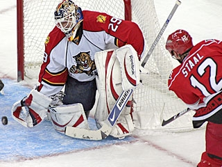 Tomas Vokoun denies Eric Staal on this point-blank shot en route to earning his fourth shutout. (AP)