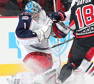 With 26 saves, Columbus goalie Steve Mason keeps the Hurricanes in check.  (Getty Images)