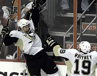 Sidney Crosby is jubilant in celebration after notching a two-goal game for the 23rd time in his career. (AP)