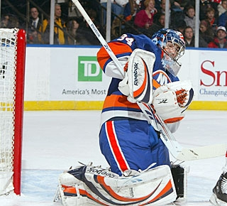 Yann Danis records just his second career shutout and first for the Islanders in 79 games. (Getty Images)