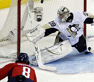 Alex Ovechkin rifles a forehand past Marc-Andre Fleury for a first-period power-play goal.  (AP)