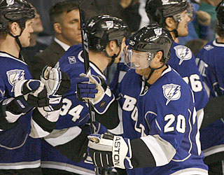 Vaclav Prospal (20) celebrates after providing the Lightning with the winning goal late in the third.  (AP)