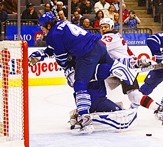 David Clarkson (23) scores after Jeff Finger hits goalie Vesa Toskala instead of Clarkson.  (US Presswire)