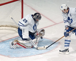 Martin Gerber comes 39 seconds short of winning by shutout in his debut with Toronto. (Getty Images)