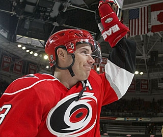 Ray Whitney acknowledges the fans after being named first star of the game. (Getty Images)