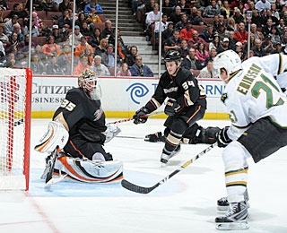 Loui Eriksson converts a cross-ice pass from close range for his second goal. (Getty Images)