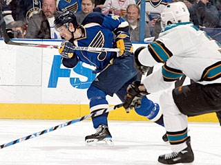 Brad Boyes scores for the third time in four games and leads the Blues with 28 goals. (Getty Images)