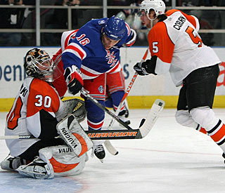 As is usual when he's at his best, Sean Avery is in the middle of most of the action.  (Getty Images)