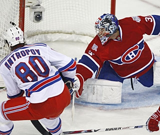 Nik Antropov has a lot of open net available to score his third goal in as many games. (AP)