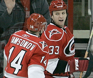 Defenseman Anton Babchuk (right) scores two goals in a game for the first time this season. (AP)