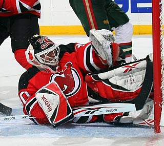 Martin Brodeur collects his 101st shutout, just two shy of Terry Sawchuck's mark.  (Getty Images)