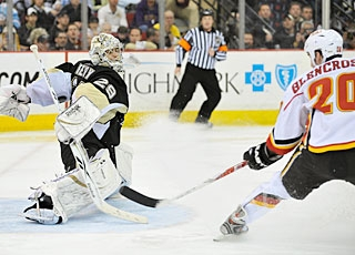Curtis Glencross is denied a third time by Marc-Andre Fleury from a quality scoring chance. (Getty Images)
