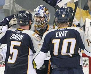 Goal scorers Greg Zanon and Martin Erat give more credit to Pekka Rinne for his effort. (Getty Images)