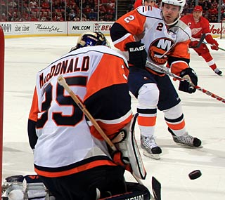 A former Red Wing, Joey MacDonald notches the first shutout of his NHL career.  (Getty Images)