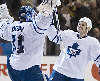 Ian White, whose goal turns out to be the winner, also gives props to goalie Curtis Joseph. (AP)