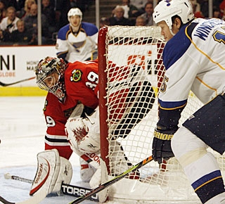 Nikolai Khabibulin, who stops 16 shots, loses his bid for a shutout with just two seconds left. (AP)