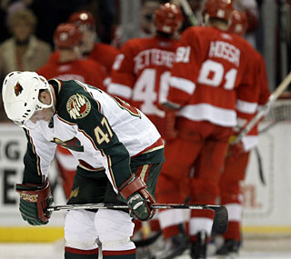With the loss, Marc-Andre Bergeron and the Wild suffer a big blow to their playoff hopes.  (AP)