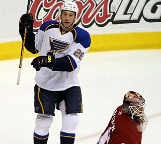 Not much of a scorer, B.J. Crombeen tallies two goals against the Coyotes.  (Getty Images)