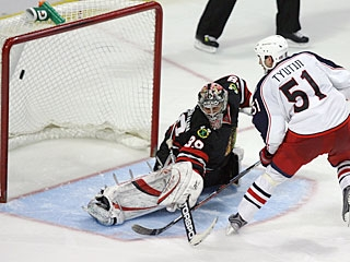 Fedor Tyutin's goal in the shootout caps a historic night for the Blue Jackets franchise.  (Getty Images)