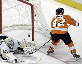 Jared Ross beats goalie Marc-Andre Fleury in the third period to increase the Flyers' lead in Game 3. (AP)