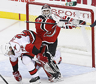 Martin Brodeur ties Patrick Roy's playoff record with a 23rd career postseason shutout.  (US Presswire)