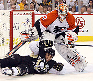 Nothing gets by Martin Biron, who finishes with 28 saves in the Game 5 victory.  (US Presswire)