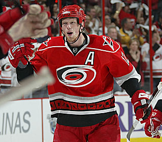 Eric Staal celebrates one of his two second-period goals as the Hurricanes stay alive with the win.